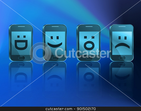 Telecommunications concept. stock photo, Illustration depicting four illuminated communication devices with various emoticon displays arranged horizontally with blue filter over blue light and reflecting into the foreground. by Samantha Craddock