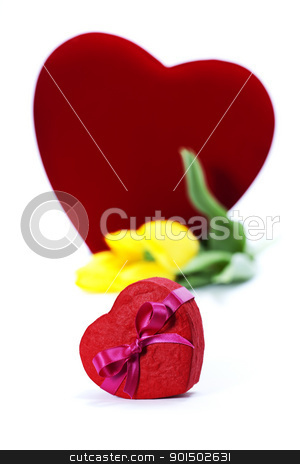 gift boxes and fresh flowers stock photo, gift boxes and flowers for Valentine's day ( on white background). by klenova