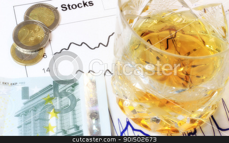Crisis stock photo, A crisis concept; a glass of drink, money and stock graph. by Primus
