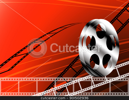 Film strip and roll stock photo, Film strip and roll, Cinema concept background by Patipat Rintharasri