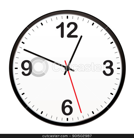 Black wall clock stock vector clipart, Illustrated clock for telling the time or icon symbol by Michael Travers