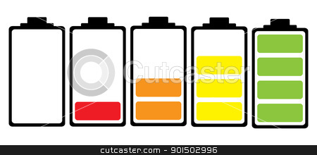 Battery charge colour icon stock vector clipart, Simple illustrated battery icon with colourful charge level by Michael Travers