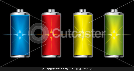 Battery charge flash stock vector clipart, Collection of batteries with flash charge icon set by Michael Travers