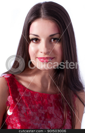 Portrait of a fresh and lovely woman stock photo, Portrait of a fresh and lovely woman wearing the red blouse by nvelichko