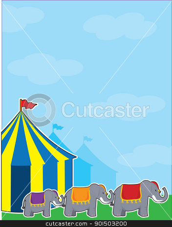 Circus Tent stock vector clipart, A background with a big sky, colorful circus tents and three elephants. by Maria Bell