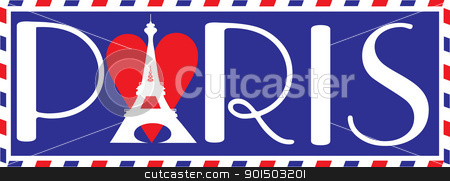 Love Paris stock vector clipart, Designed in the style of a travel trunk sticker, with the bold letters