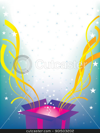 Surprise Package stock vector clipart, A background with a gift box that's burst open, with streamers and stars streaming into the air. by Maria Bell