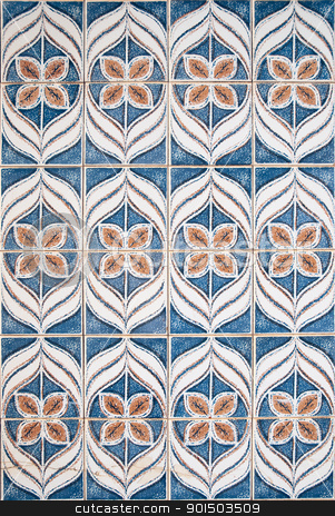 Blue and brown pattern  stock photo, Blue and brown pattern made of ceramic tiles. by Homydesign