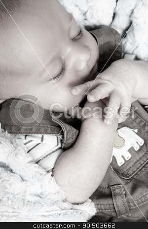 Sleeping baby stock photo, Beautiful newborn baby boy sleeping on a soft blanket by Vanessa Van Rensburg
