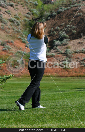 Female Golfer stock photo, Blond female golfer playing an Iron shot by Vanessa Van Rensburg
