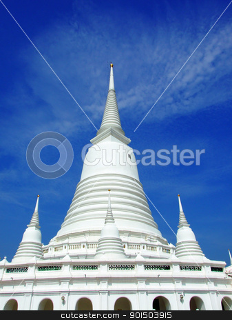 Golden Pagoda in a temple  stock photo, Golden Pagoda in a temple  by Paisan  Changhirun