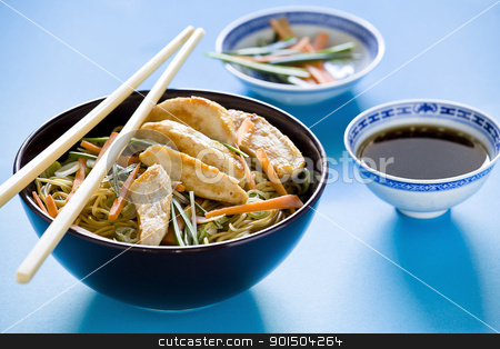 Chicken Chinese Meal Setup stock photo, Photograph of a bowl of noodles with vegetables by mpessaris