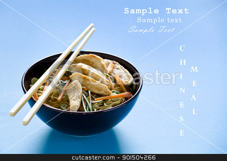 Chicken Chinese Meal With Text stock photo, Photograph of a bowl of noodles with vegetables by mpessaris