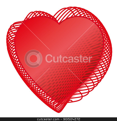 Valentine Red love heats  stock vector clipart, Two Red love heats symbol of Valentine day  by Artush