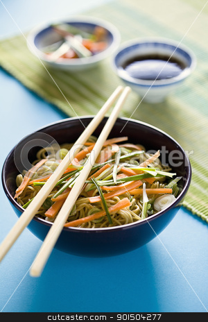 Chinese Meal stock photo, Photograph of a bowl of noodles with vegetables by mpessaris