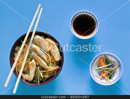 Sliced Chicken Chinese Meal stock photo, Photograph of a bowl of noodles with vegetables by mpessaris