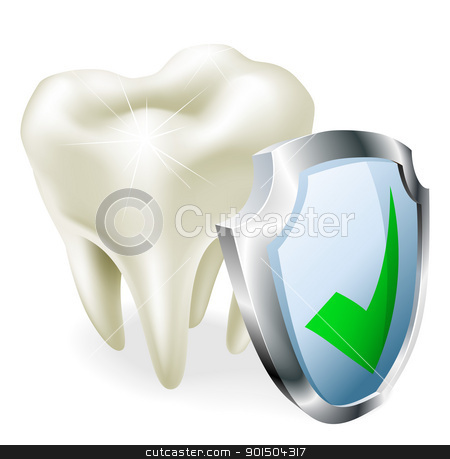 Tooth protection concept stock vector clipart, A tooth with a shield and green tick icon.  by Christos Georghiou