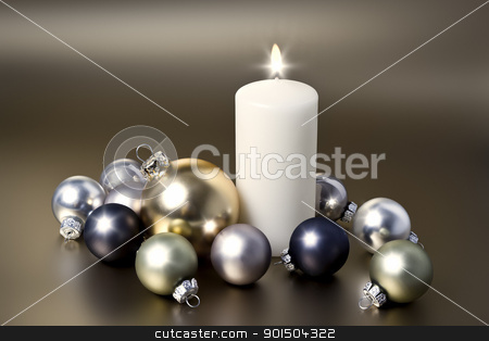 white christmas candle stock photo, An image of a white christmas candle by Markus Gann