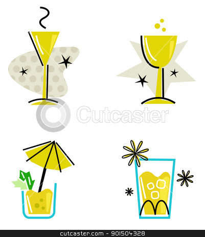 Yellow retro drinks collection isolated on white stock vector clipart, Hand drawn retro drinks set. Vector Illustration by Jana Guothova