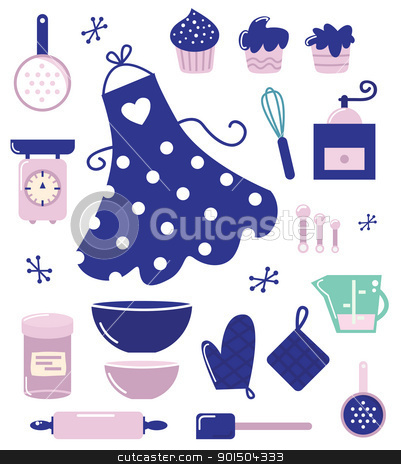 Icons or accessories for housewife isolated on white stock vector clipart, Retro set for baking or cooking. Vector Illustration by Jana Guothova
