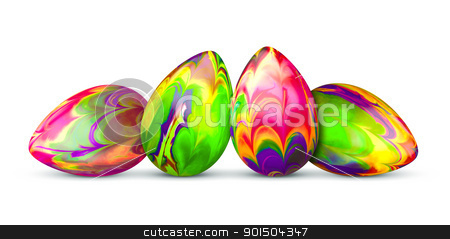 four easter eggs stock photo, An image of four colorful easter eggs by Markus Gann