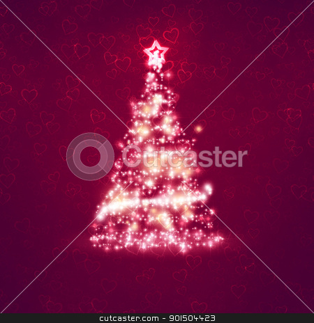 red christmas background stock photo, An image of a nice red christmas background with hearts by Markus Gann