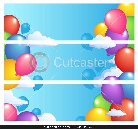 Banners with balloons 1 stock vector clipart, Banners with balloons 1 - vector illustration. by Klara Viskova