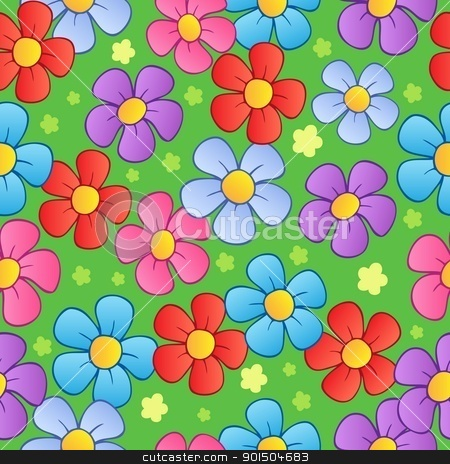 Flowery seamless background 1 stock vector clipart, Flowery seamless background 1 - vector illustration. by Klara Viskova