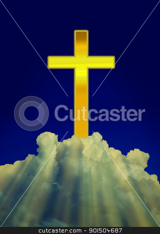Shining Christian Cross on Clouds stock photo, Shining Christian Cross with Shining Rays through White Clouds by Snap2Art