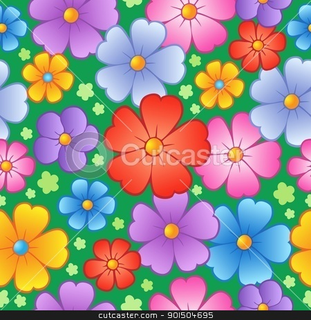 Flowery seamless background 6 stock vector clipart, Flowery seamless background 6 - vector illustration. by Klara Viskova