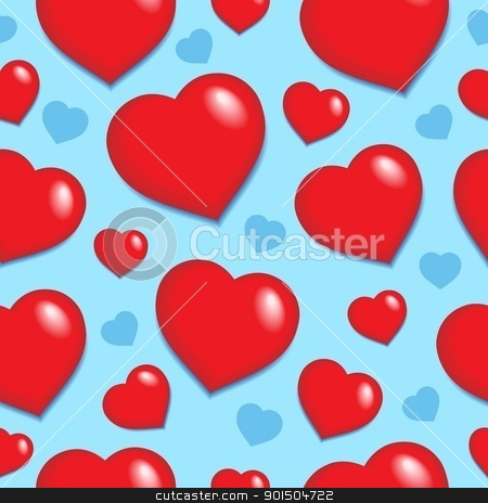 Seamless background with hearts 1 stock vector clipart, Seamless background with hearts 1 - vector illustration. by Klara Viskova
