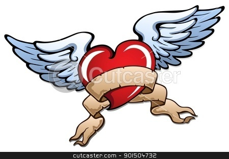 Stylized heart with wings 2 stock vector clipart, Stylized heart with wings 2 - vector illustration. by Klara Viskova