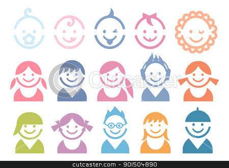 baby and children faces stock vector clipart, baby and children faces, vector icon set by Beata Kraus
