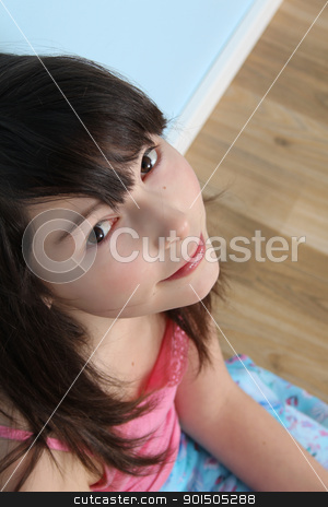 Innocent teen stock photo, Innocent brunette teen sitting on the floor by Vanessa Van Rensburg