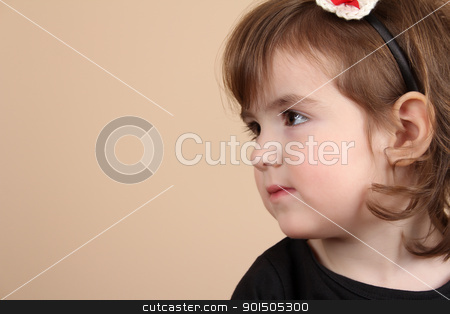 Cute girl stock photo, Cute little brunette toddler with serious expression  by Vanessa Van Rensburg