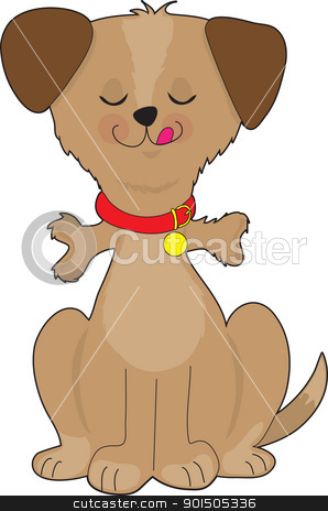 Dog Bone stock vector clipart, A happy, brown dog has just eaten a dog bone, which you can see sticking out from his gullet, before going down to his stomach. by Maria Bell