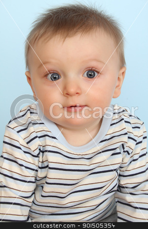 Surprize baby stock photo, Surprized looking baby boy against a blue background by Vanessa Van Rensburg