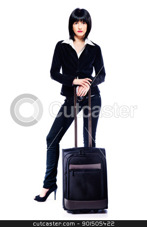 business woman and suitcase stock photo, Young business woman and suitcase, isolated on white by iMarin