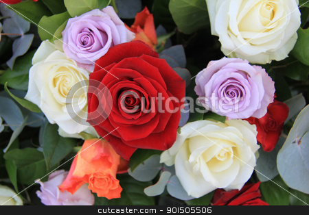 mixed roses flower arrangement stock photo, Flower arrangement with roses in orange, lilac, red and white by Porto Sabbia