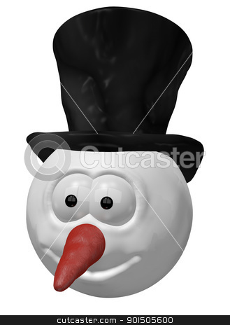 snowman stock photo, funny snowman head - 3d cartoon illustration by J?