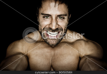 angry muscled bodybuilding man stock photo, An image of an angry muscular sports man by Markus Gann