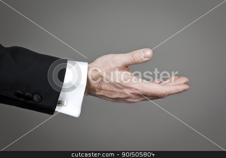 businessmans hand stock photo, An image of a businessmans hand on grey background by Markus Gann