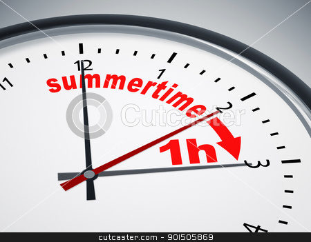 daylight saving time stock photo, An image of a nice clock with summertime 1h by Markus Gann