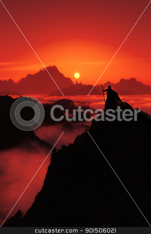 magic sunset stock photo, A fantasy image with a man watching to the far city and the sunset in red by Markus Gann