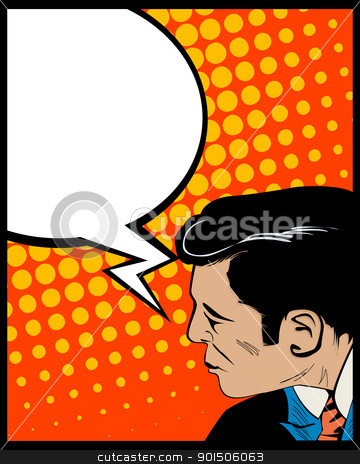 Speech bubble pop art man stock vector clipart, Pop Art style graphic with man and speech bubble by Richard Laschon