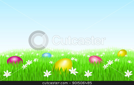 Easter eggs on green grass stock photo, Greeting Card. Easter eggs on green grass and white flowers. by dvarg