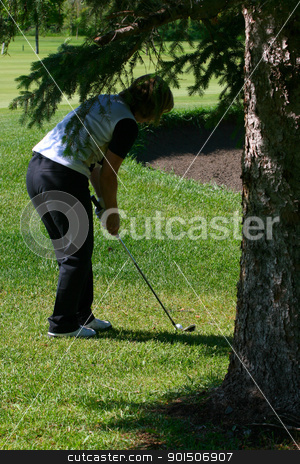 Hazardous shot stock photo, Adult female golfer playing a shot from under the tree by Vanessa Van Rensburg