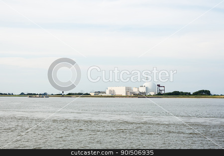 Nuclear plant near river stock photo, Nuclear plant near river in Brokdorf, Germany by iMarin