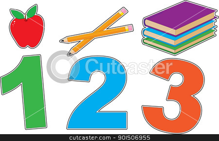 School 123 stock vector clipart, With a colorful grade school theme, this graphic has the numbers 1, 2 and 3 underlining an apple, pencils and books. by Maria Bell
