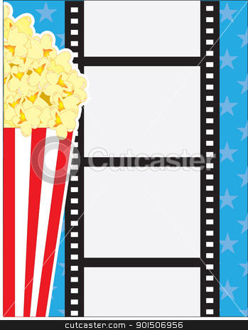 Film and Popcorn stock vector clipart, A cinematic background, with popcorn in a red striped carton and a vertical film strip, over a blue background. by Maria Bell